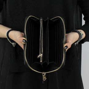 Portefeuille Zip Autour de Patrizia Pepe en cuir véritable noir 2V4879 A2RA