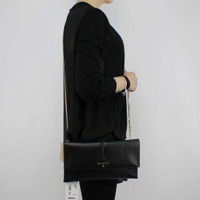 Sac d'Embrayage sac avec bandoulière, Patrizia Pepe en cuir de veau noir
