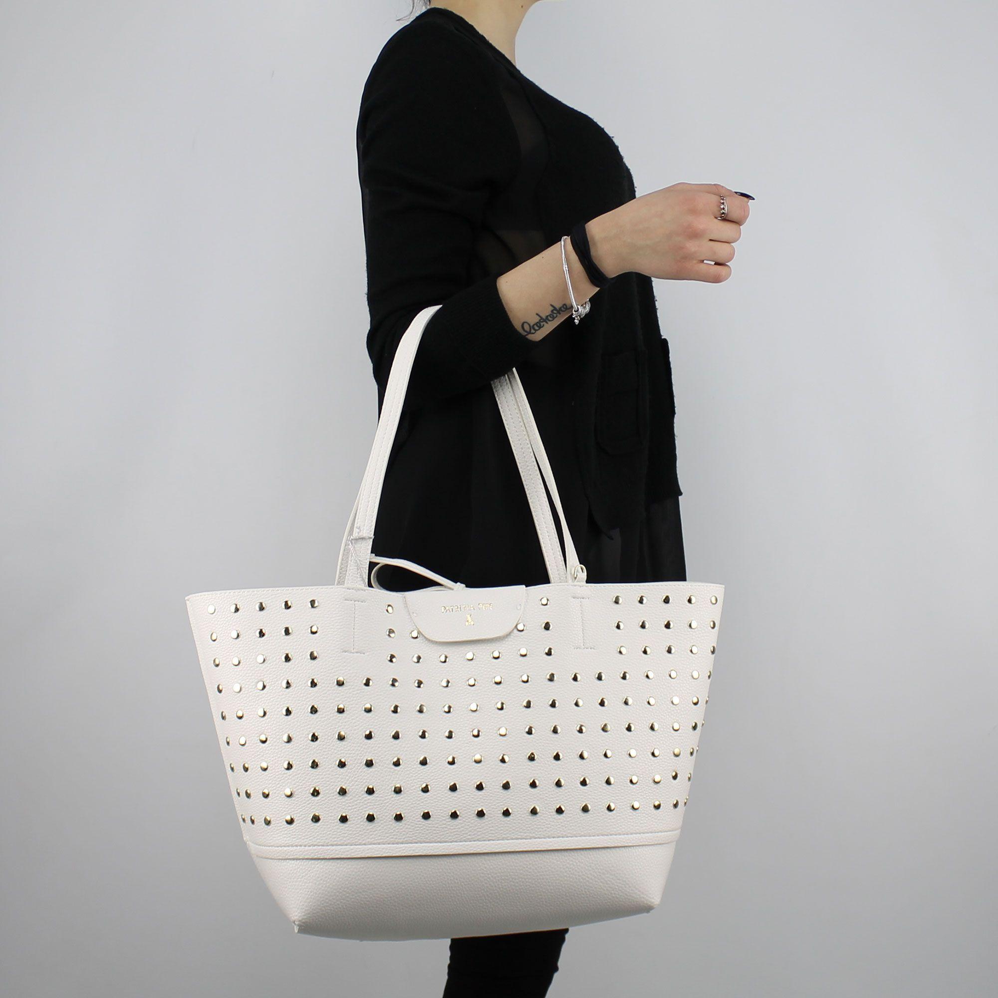 hot product buy sale good looking Sac Shopping réversible Patrizia Pepe blanc avec des étoiles et strass  2V7193 A3CR