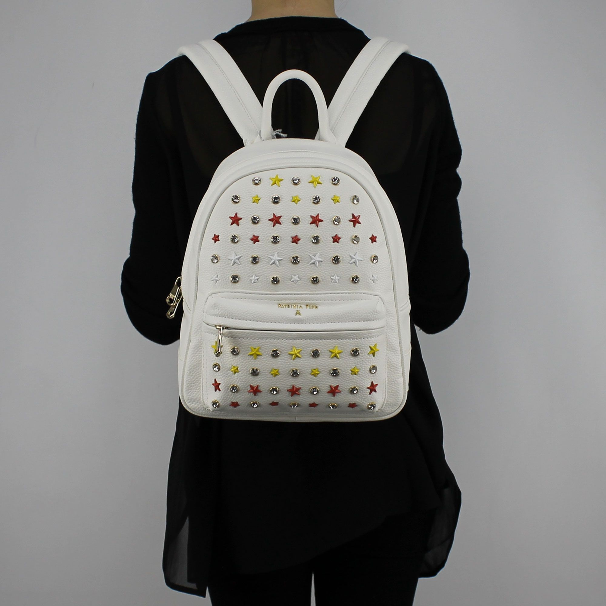 innovative design 4a19c 6aace Backpack Patrizia Pepe white with studs and rhinestones 2V7768 A3CR