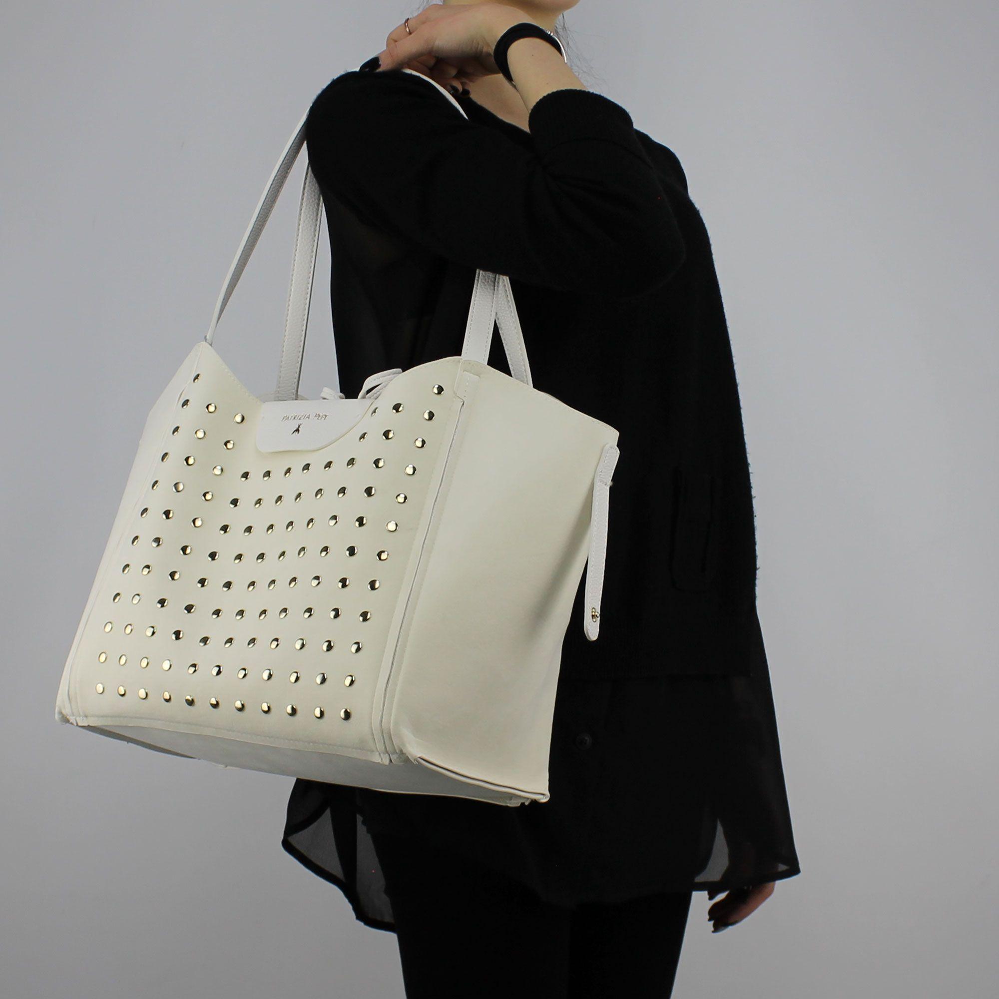 Borsa Shopping reversibile Patrizia Pepe bianca con stelline e strass 2V7782 A3CR