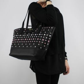 Shopping bag reversible Patrizia Pepe black with stars and rhinestones 2V7193 A3CR
