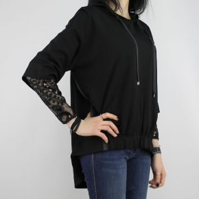 Sweatshirt Liu Jo Sport Diana black with embroidery and sequins