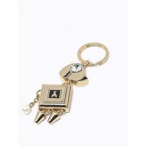 Keychain keyring Patrizia Pepe chien en or brillant