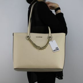 Borsa shopping Love Moschino avorio con catena dorata JC4261PP05KG0110