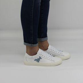 Chaussures Baskets Patrizia Pepe logo blanc céleste 2V7044 A483