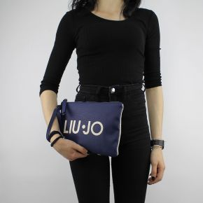 Pochette a mano Liu Jo indiana blu e beige N18183 T7114