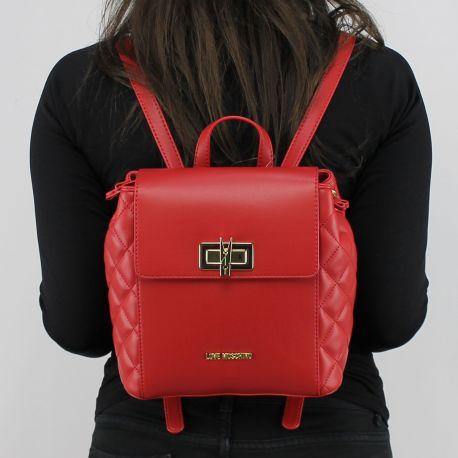 Rucksack Love Moschino rot gesteppt mit wäscheklammer JC4023PP15LB0500