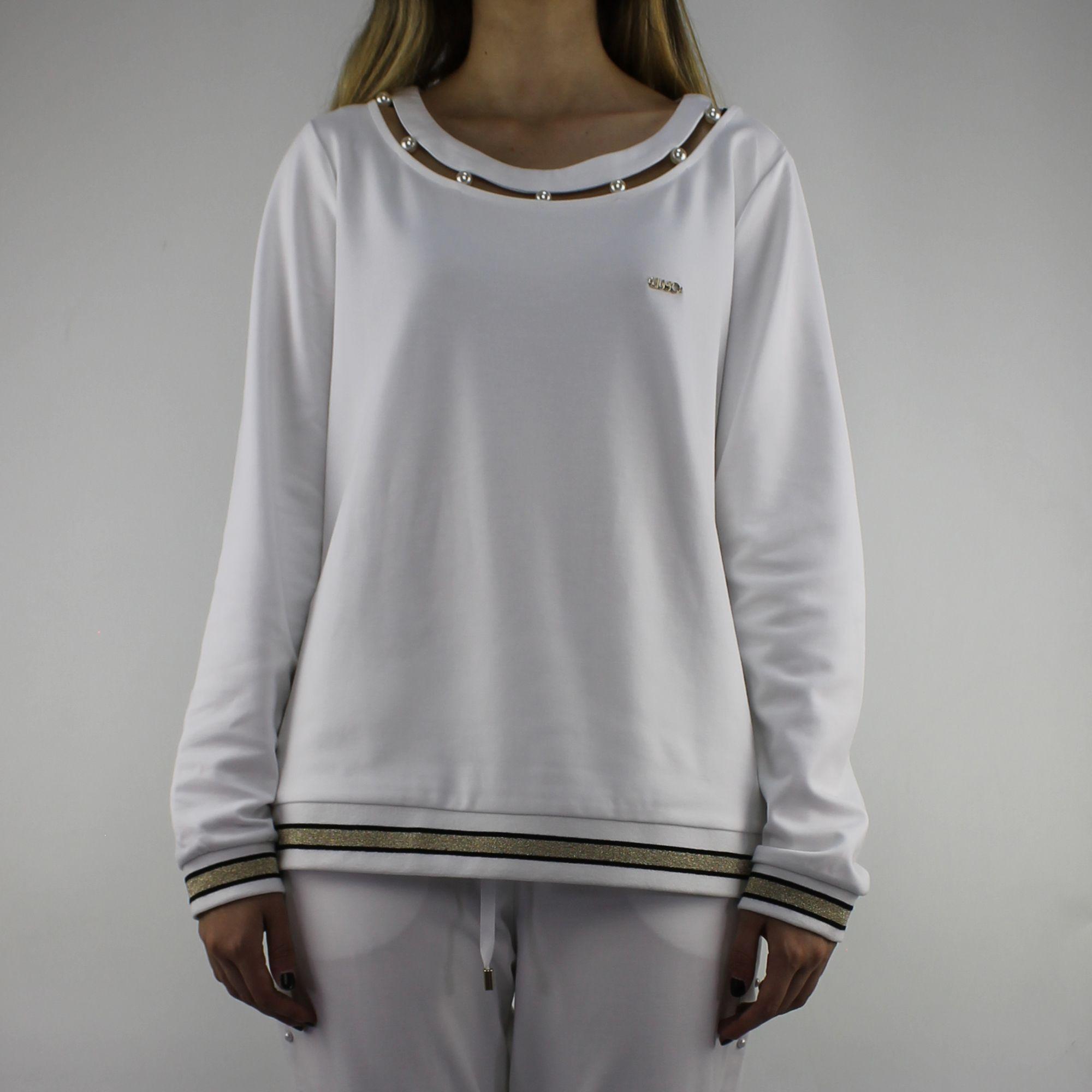 Felpa Liu Jo Sport Debora bianca con perle - In More Est Store 028472e6282