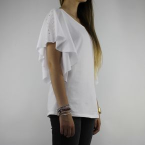T-shirt Liu Jo Sport bianca con perle T18116