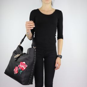 Shoulder bag Liu Jo Hobo the Dock with embroidery black size L A68035 E0006