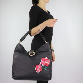 Tasche ein-Schulter-Liu Jo Hobo Hafenbecken mit stickerei schwarz größe L A68035 E0006