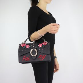 Bolsa de mano y hombro del bolso de Crossbody Dock con bordados en negro talla M A68039 E0006