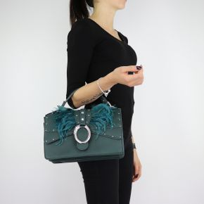 Hand bag and shoulder bag Crossbody Dock with feathers, dark green size M A68039 E0007
