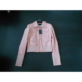 JACKET BIKER FAUX LEATHER PINK CUFFS RIBBED HIGH PINK