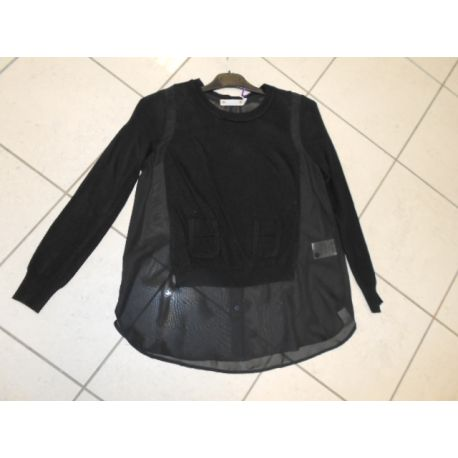 BLACK MESH LONG SLEEVE CREW NECK CHEST/SLEEVES, WOOL BACK AND SIDES BLACK ORGANZA